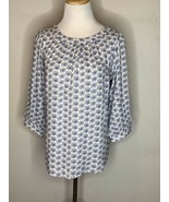 GAP Womens Floral Peasant Boho Tunic Top Blouse Lightweight White Purple... - $17.95