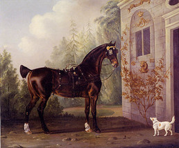 Dark Bay Carriage Horse With Terrier Dog Animal Painting By Thomas Gooch Repro - $10.96+