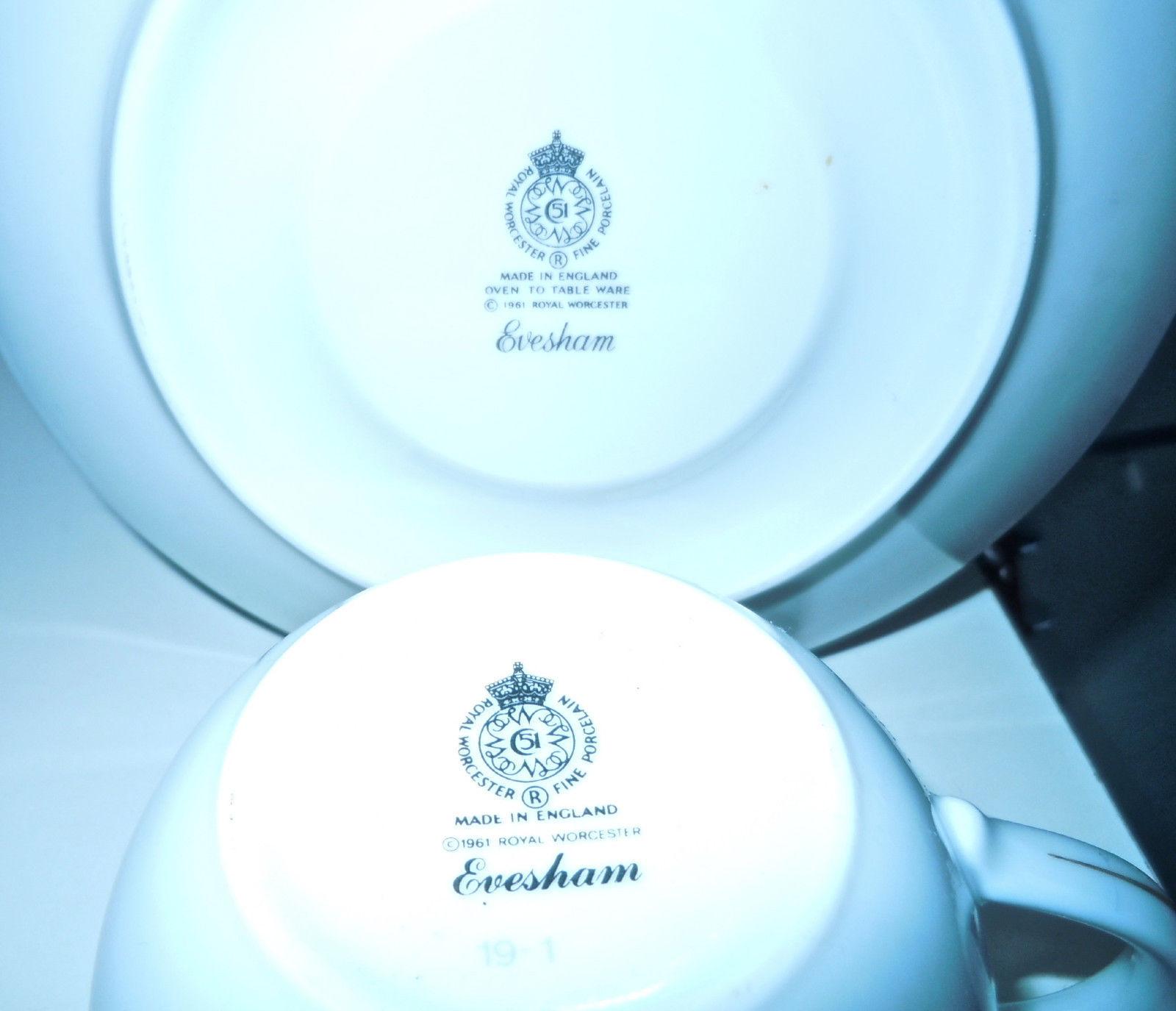 Royal Worcester Evesham Gold Cup and Saucer Set Gold on Sides of Handle