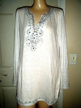 INC WHITE LONG SLEEVE Y-NECK EMBELLISHED TOP SIZE XL - $48.37