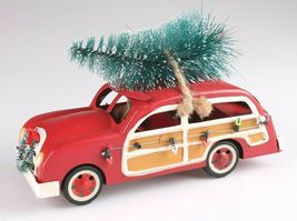 "Wondershop 8"" Christmas Tree Decoration Red Metal Station Wagon Woody Car NEW image 4"