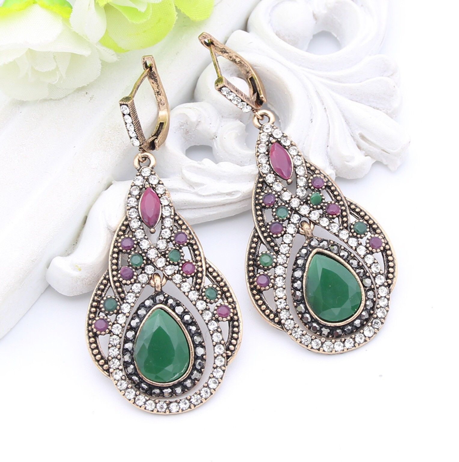 Womens Turkish Earring Hook Jewelry Green Stone Islamic Vintage India Retro Gift