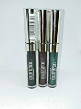 3 Maybelline Color Tattoo Eye Chrome Eyeshadow Purple Emerald Gunmetal - $14.89