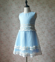 Light-blue Lace Tutu High Waist Dress Blue Flower Girl Dress Birthday Dress NWT image 4