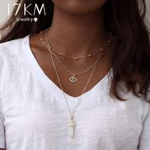 17KM Vintage Opal Stone Chokers Necklaces Fashion Multi Layer Crystal Ey... - $5.99
