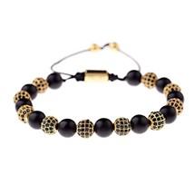 DOUVEI Luxury Black CZ Ball Copper Bracelets & Bangles Men Charm Black Stone Bea - $33.87