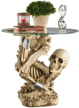 Gothic Halloween Shackled Bent Skeleton From the Grave Sculptural SideTable - ₨19,363.06 INR