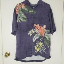 Tommy Bahama Shirt M Colorful Palm Leaf Aloha Floral Silk Camp Button Do... - $28.04