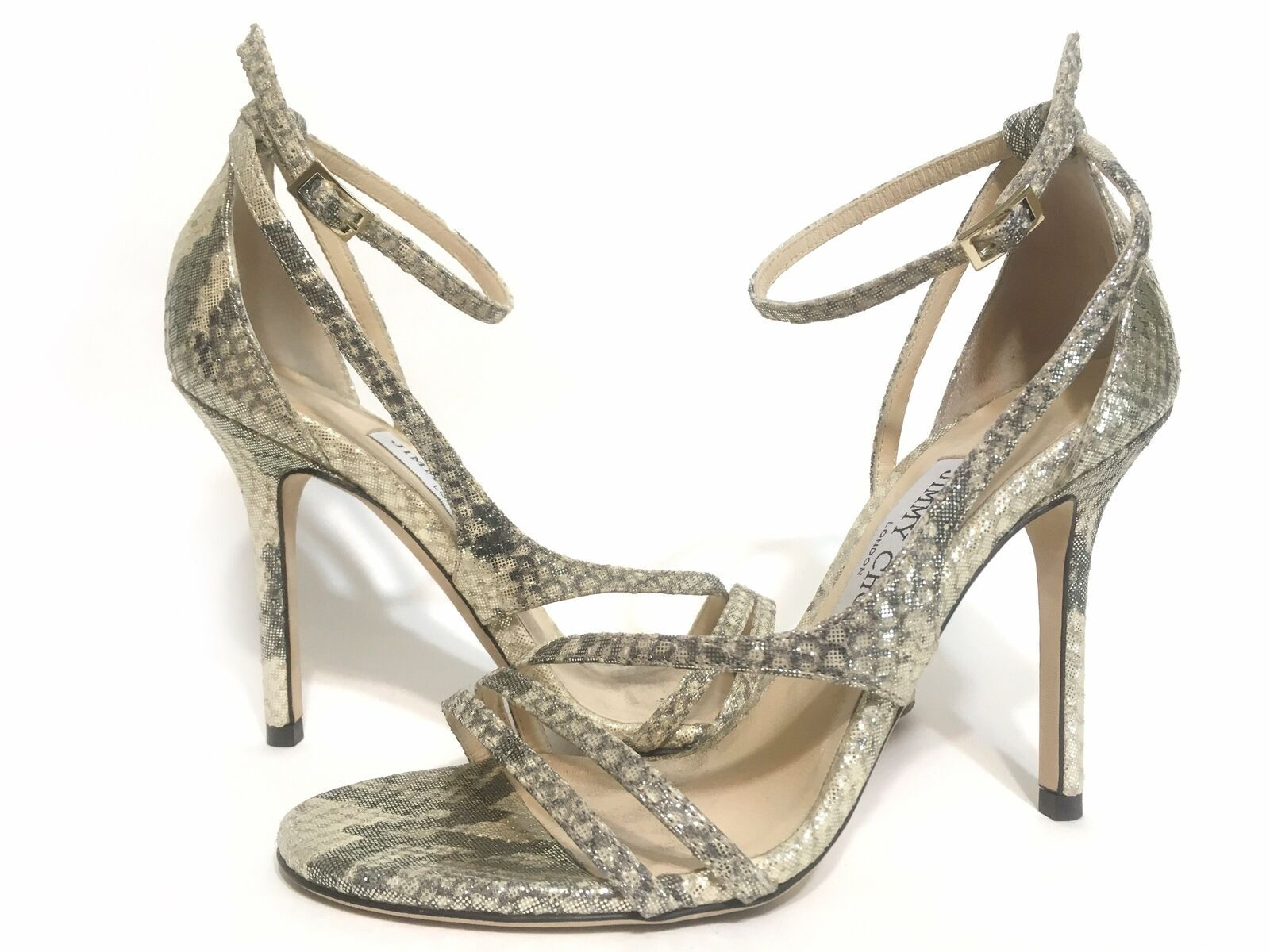 Primary image for Jimmy Choo Leather Snake Print Lea Sandals Gold Size 36