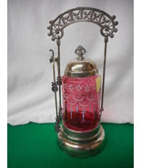 Antique Cranberry Glass Handpainted Victorian Pickle Castor with Tongs - $490.05