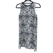 LOFT Women's Sz SP Shift Dress Sleeveless Navy Blue On White Floral Print  - $28.04