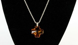Vintage .925 Sterling Silver Signed 291 SE Amber Cross Rope Chain Necklace 10.1g - $32.55