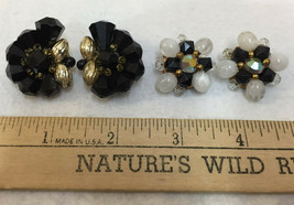 Clip On Earrings Chunky Beads Black White Gold Tone Metal Vintage Lot 2 ... - $12.86