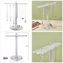 STORi Clear Plastic Necklace Holder with 30 Individual Pegs and Divided ... - $19.13