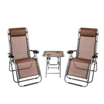 2 pcs Patio Lounge Chair Zero Gravity Outdoor Folding Beach Recliner & C... - $92.99