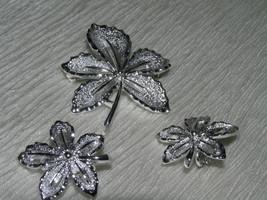 Vintage SARAH COV Signed DEMI Brushed SIlvertone Dished Leaf Pin Brooch ... - $12.19