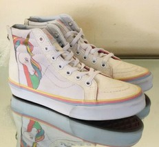 Vans Sparkly White Rainbow Unicorn High Top Girls Canvas Sneakers SK Size 2.5 M - $27.77