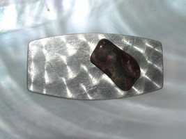 Vintage Handmade Brushed Aluminum Silvertone Round Rectangle w Red & Gre... - $8.59