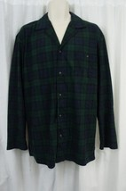 Nautica Mens Sleepwear Sz S Blue Green Plaid Soft Flannel Button Night S... - $19.71