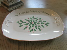 "LENOX AMERICAN BY DESIGN HOLIDAY SANDWICH TRAY 14"" ALL ROADS LEAD HOME NEW - $24.70"