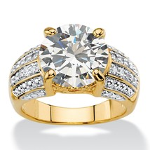 PalmBeach Jewelry 6.40 TCW Cubic Zirconia Tutone 14k Gold-Plated Engagement Ring - $39.99