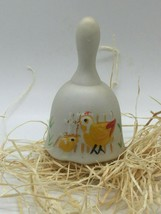 Vintage Unglazed Porcelain Painted Hen and Chick Collector's Bell - $9.89