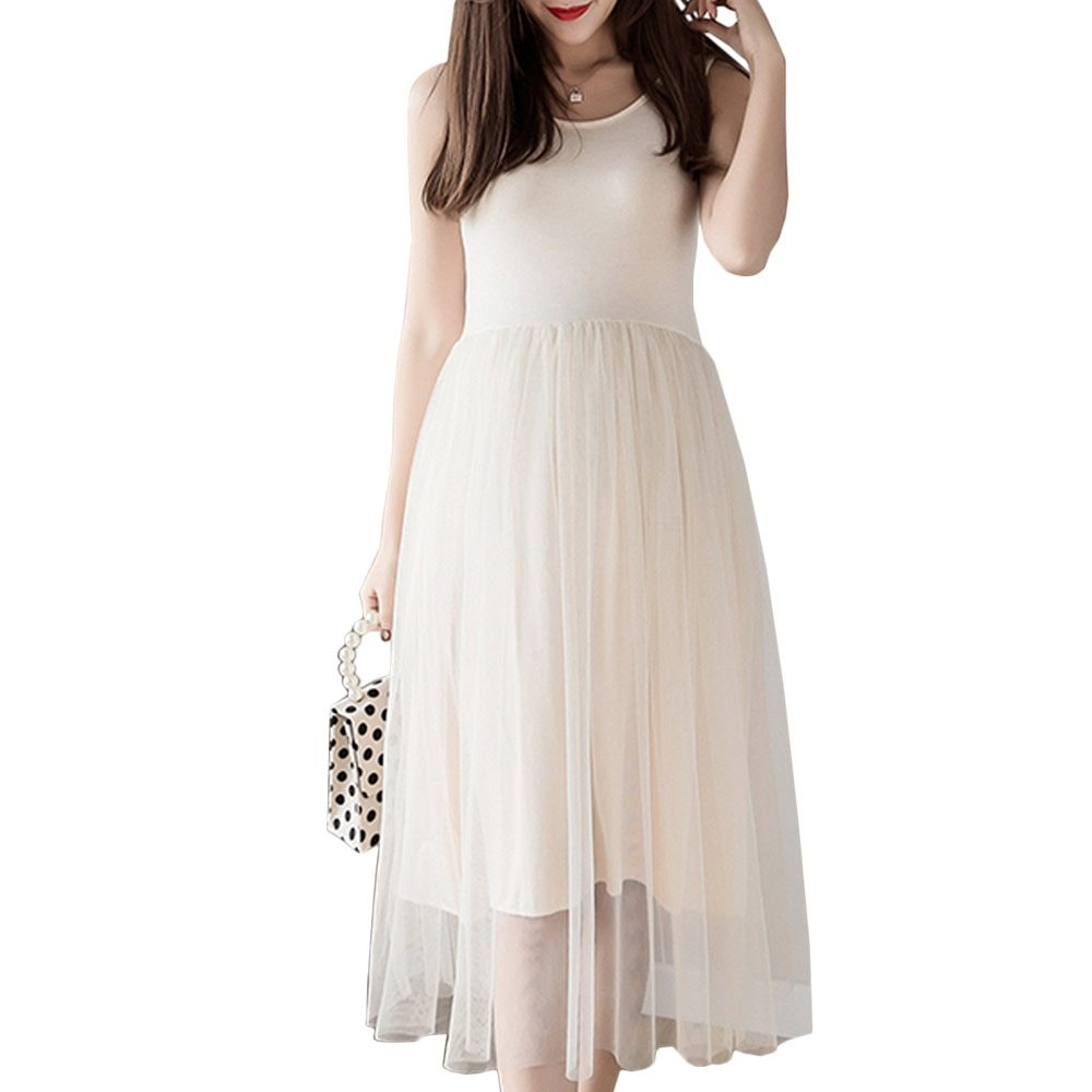 Maternity Dress Solid Color O Neck Sleeveless Tulle Dress