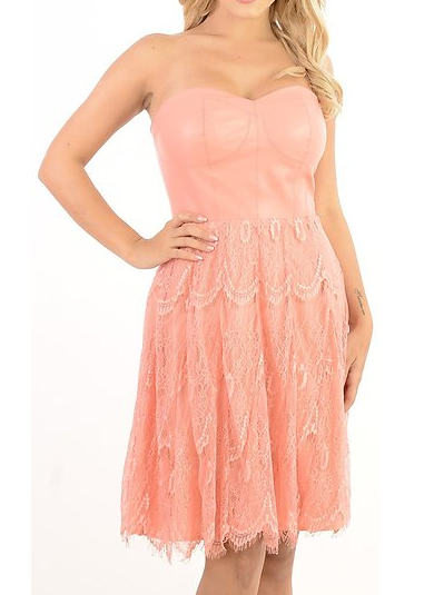 Women's removable strap overlay lace peach dress