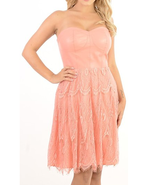 Women's removable strap overlay lace peach dress - $29.99