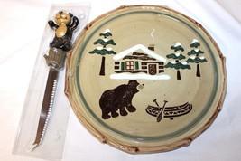 Sonoma Life-Style Lodge Cheese Plate w/ Knife Bear, Canoe, Cabin, Trees - $10.51