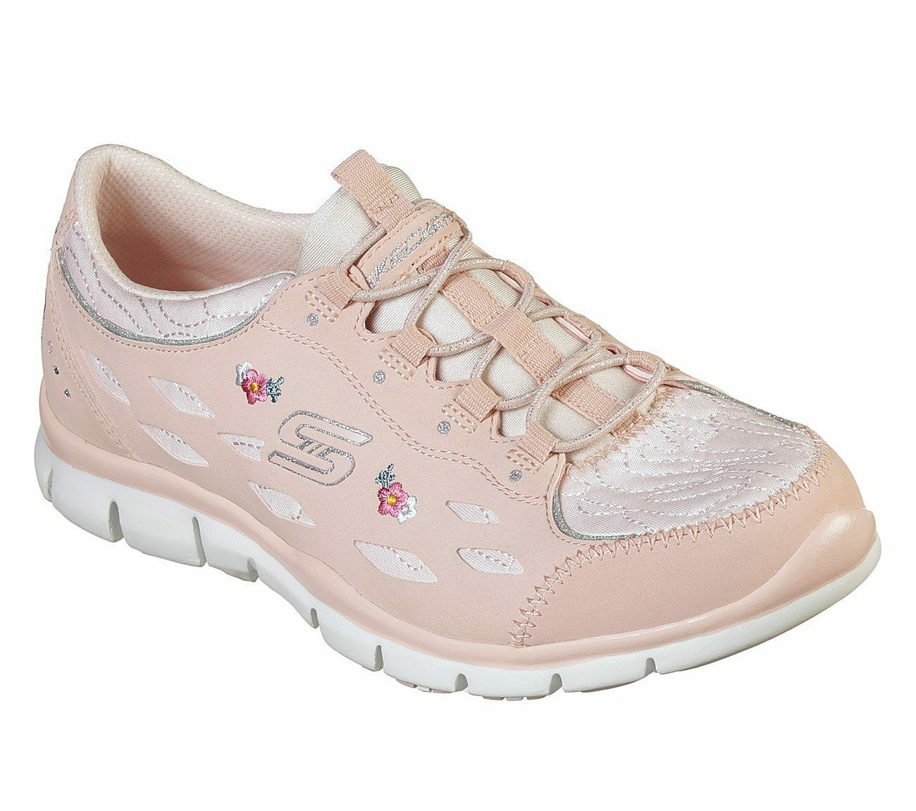 Primary image for Skechers Pink Shoes Memory Foam Women Sporty Floral Comfort Casual Slip On 23775