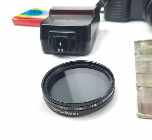 Canon T50 Camera With 50mm F1.8 Flash 224T Case Manual And Polarizer