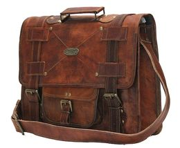 Men's Leather Messenger Shoulder Briefcase Bag For Business Work Office Use image 3