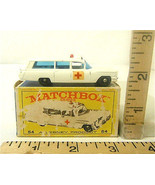 Lesney Matchbox #54 Cadillac Ambulance S&S Red Cross Label Original Box ... - $31.74