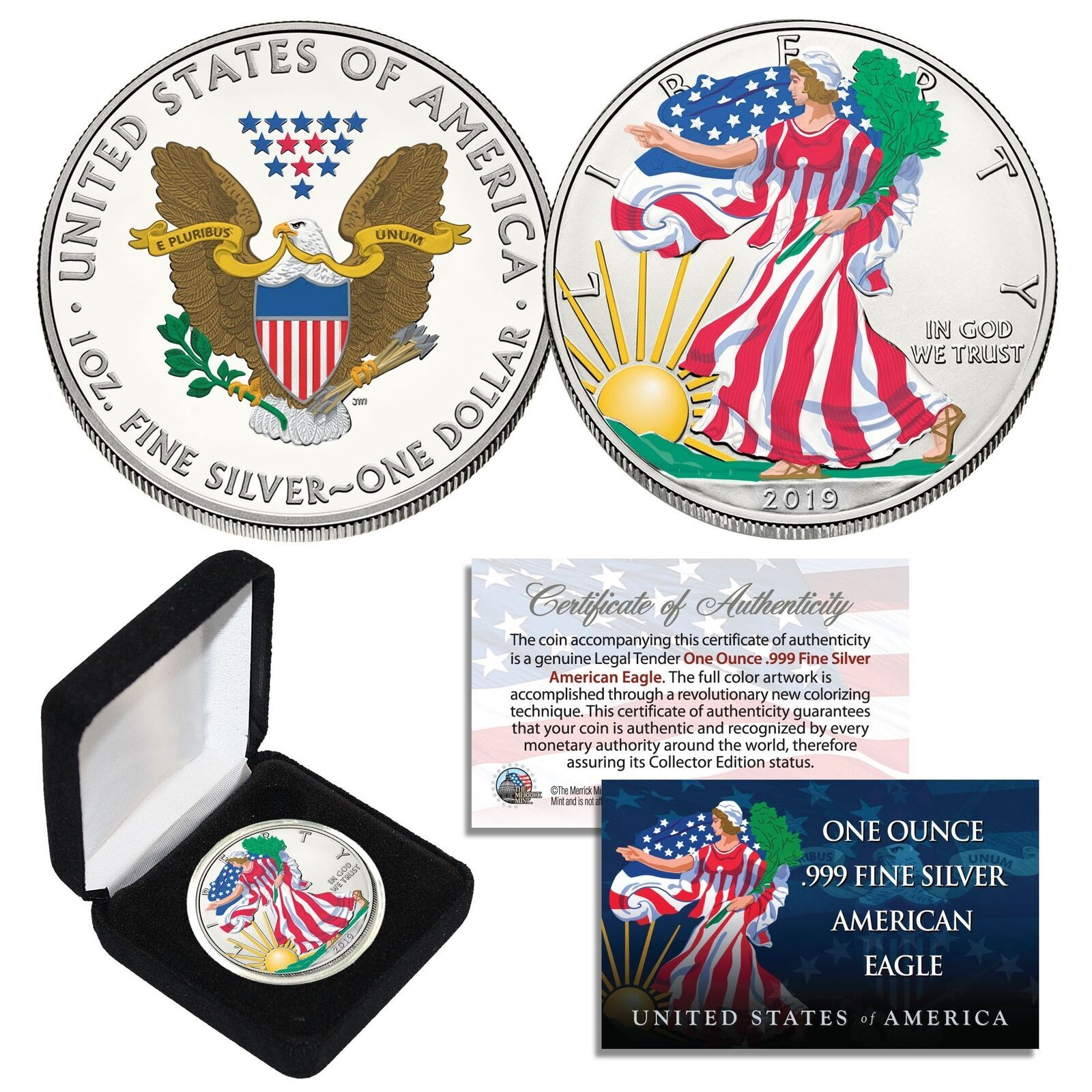 2004 US Statehood Quarters HOLOGRAM *** 5-Coin Complete Set *** w//Capsules /& COA