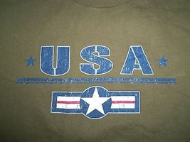 USA American Patriotic Military Green Graphic Print T Shirt M - $17.17