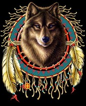 WOLF HEAD IN DREAM CATCHER  TEE SHIRT SIZE L adult T275  tshirt NEW mens... - $6.27
