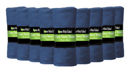 24 Pack Soft Warm Fleece Blanket or Throw Blanket - 50 x 60 Inch Navy Blue - $87.07
