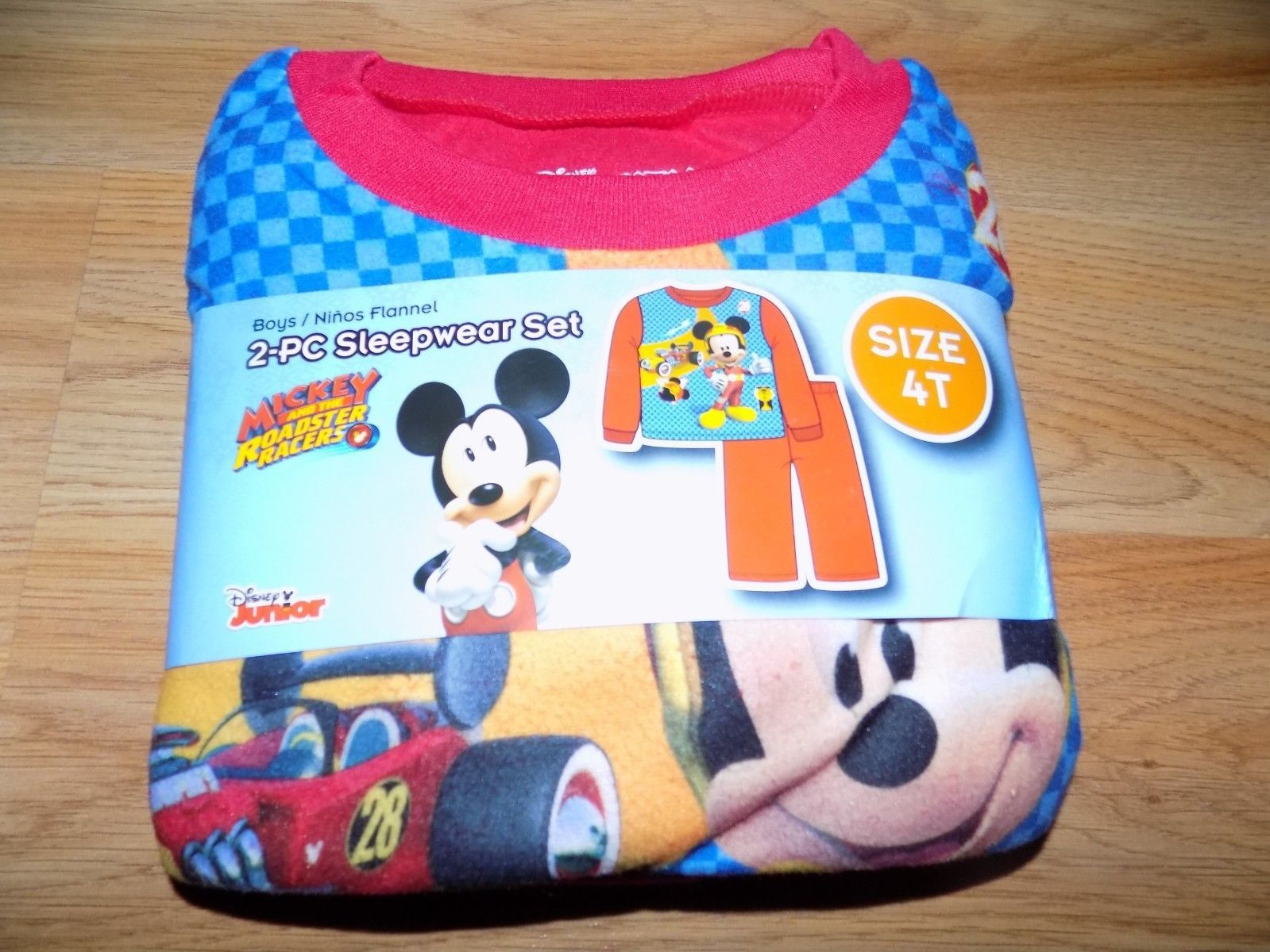 Toddler Size 4T Disney Mickey Mouse Roadster Racers 2 Piece Flannel Pajamas New