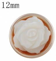 Rose Gold White Shell Flower 12mm Mini Petite Snap Charm for Ginger Snaps - $6.88