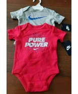 NIKE Baby Boy Bodysuit PURE POWER Blue and Gray Grey 3M 3 Months 2X Lot - $24.50