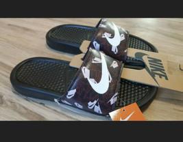 Nike Womens Benassi JDI Print Black/Spruce Aura-Iced Lilac Slides 618919-033 - $35.99