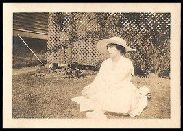 Antique Photograph Summer Day Woman Sitting in Grass White Large Brim Ha... - $10.99