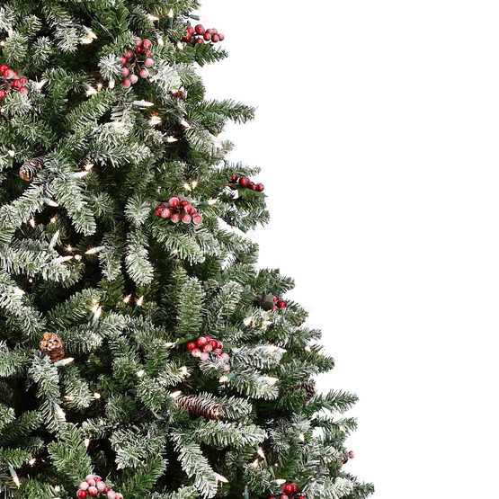 Artificial Christmas Tree With Pine Cones: LED Warm White Flocked Prelit Hawthorne Christmas Tree