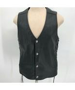 Harley Davidson Mens Side Fastening Back Embroidered Leather Riding Vest... - $148.49