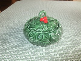 Vintage LEFTON 1972./73 #6014 GREEN HOLLY CANDY DISH w/LID - 5 3/4 Round - $7.92