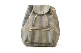 FENDI Pequin PVC Leather Backpack Knapsack Khaki Auth 10560 PEEL - $225.98