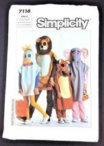 Sewing Pattern 7118 Costume Child Boy Girl Lion Elephant Chicken Fox Unc... - $9.79