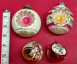 Vintage Christmas Ornaments Indent Mercury Glass Christmas Ornaments Set... - $32.99