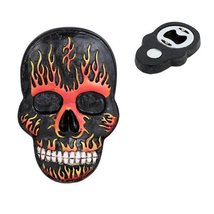 Flamed Hell Skull Magnet Bottle Opener Figurine... - $17.00